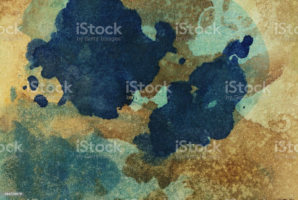 Hand painted textured background with splatters of earth tones stock photo