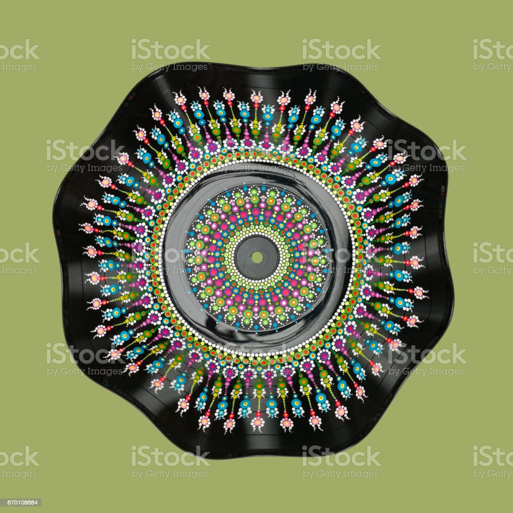 hand painted vinyl mandala stock photo
