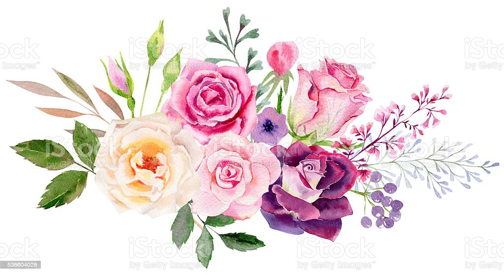 hand painted watercolor mockup clipart template of roses stock photo
