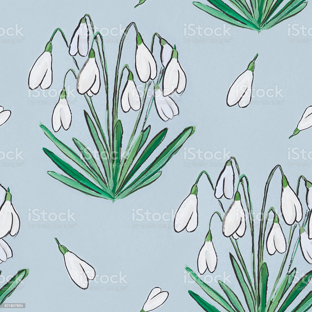 hand painted watercolor seamless pattern texture of  blooming sn stock photo