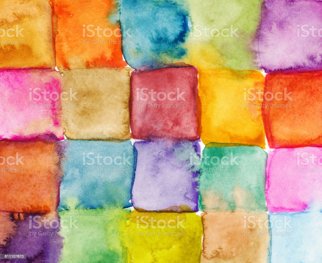 Hand painted watercolor squares in a rainbow of colors stock photo