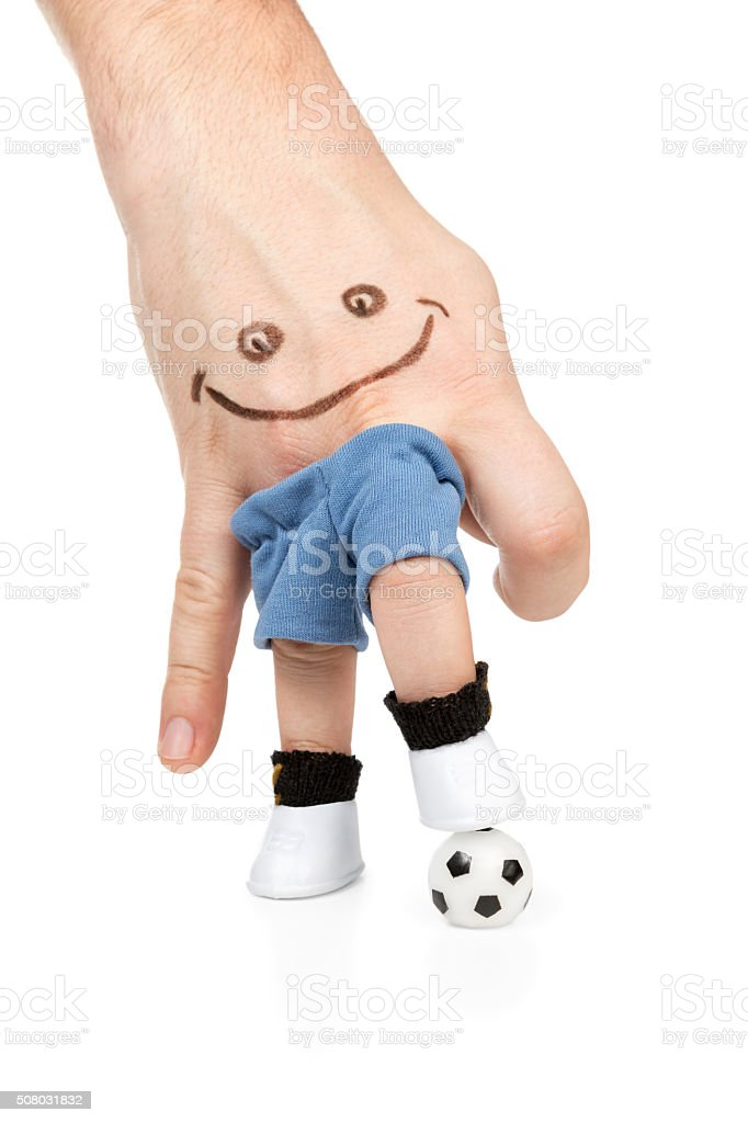 Hand painted with a smiley playing football stock photo