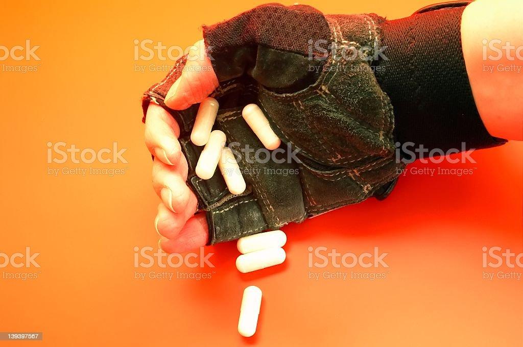 hand & pills royalty-free stock photo