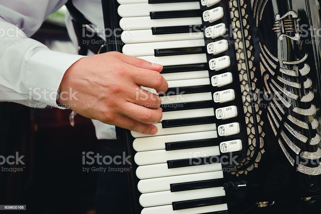 Hand playing accordion closeup stock photo