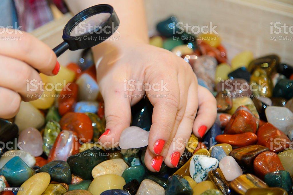 Hand plucked Colorful semi-precious stones stock photo