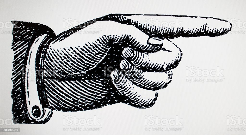 Hand point right victorian style stock photo