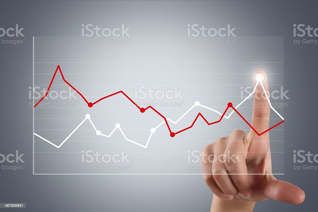 Hand Pointing and Touching Graph Chart stock photo