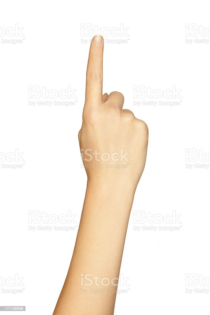 Hand Pointing On A White Background. stock photo