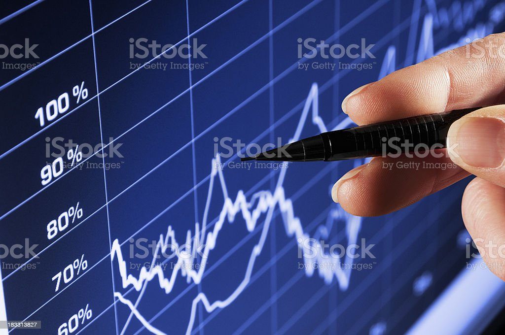 Hand pointing pen at performance chart on computer stock photo