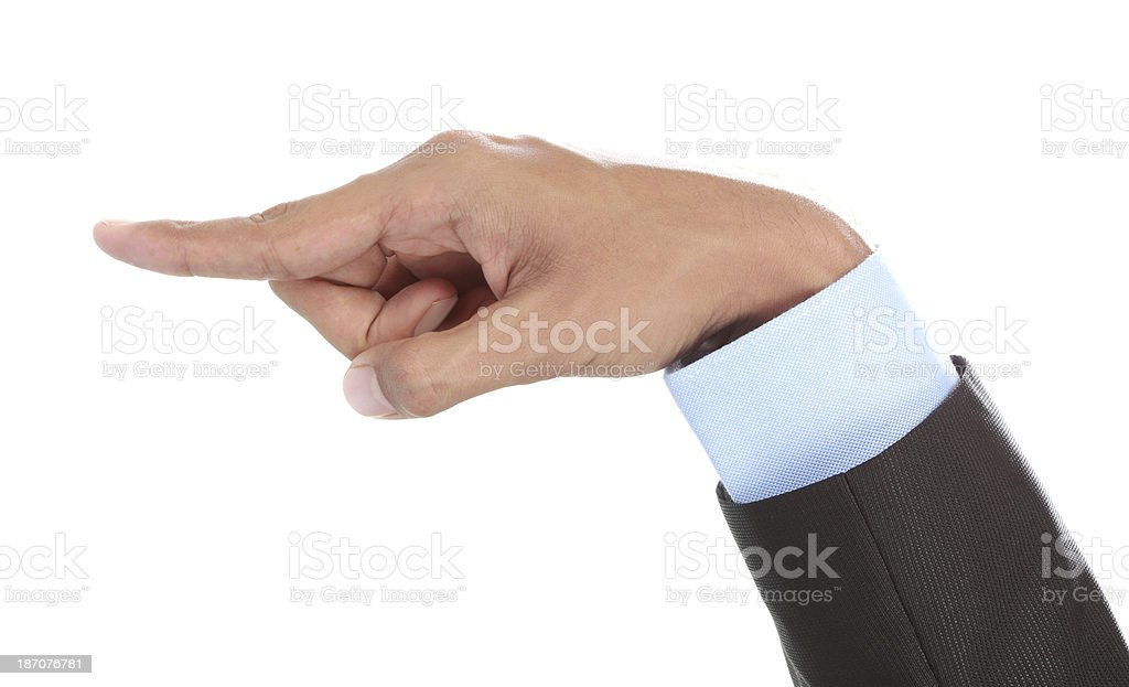 Hand pointing stock photo
