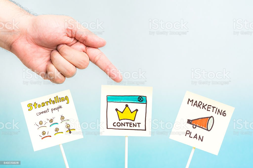 Hand pointing storytelling, content and marketing plan notes stock photo