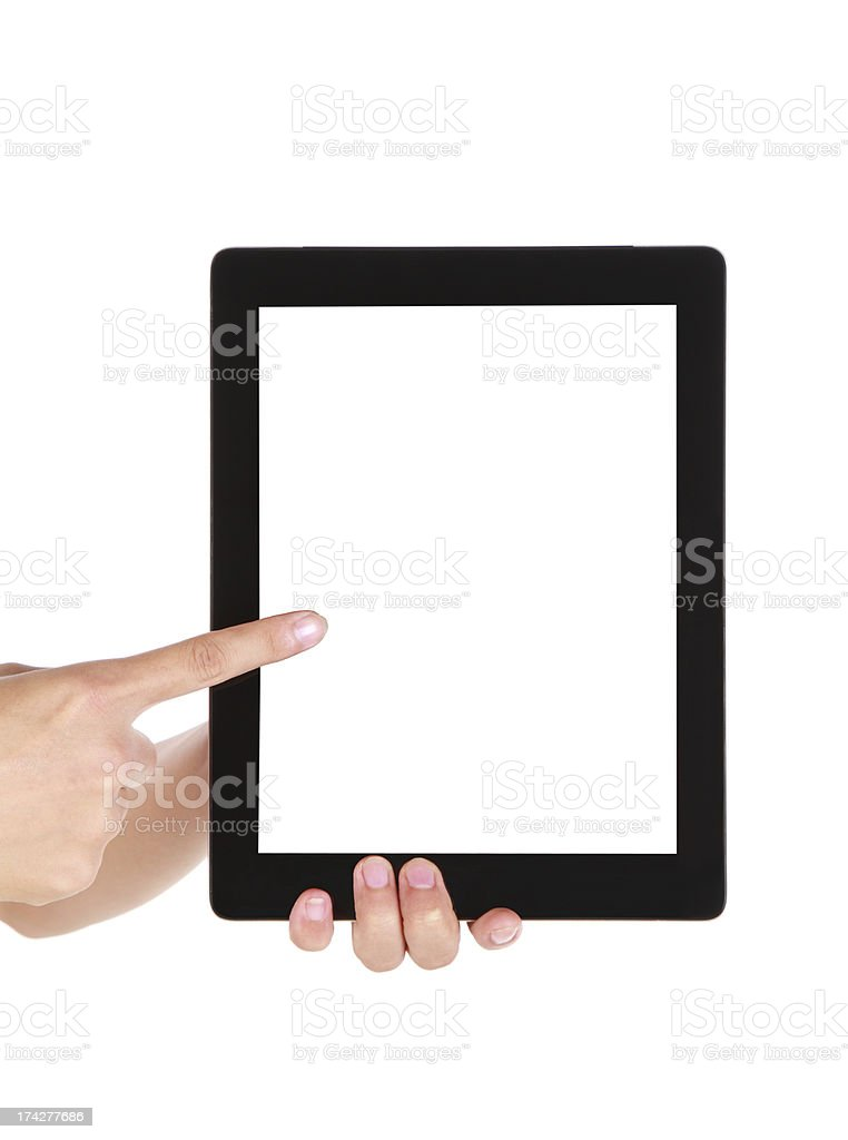 Hand pointing to a blank screen on the tablet royalty-free stock photo