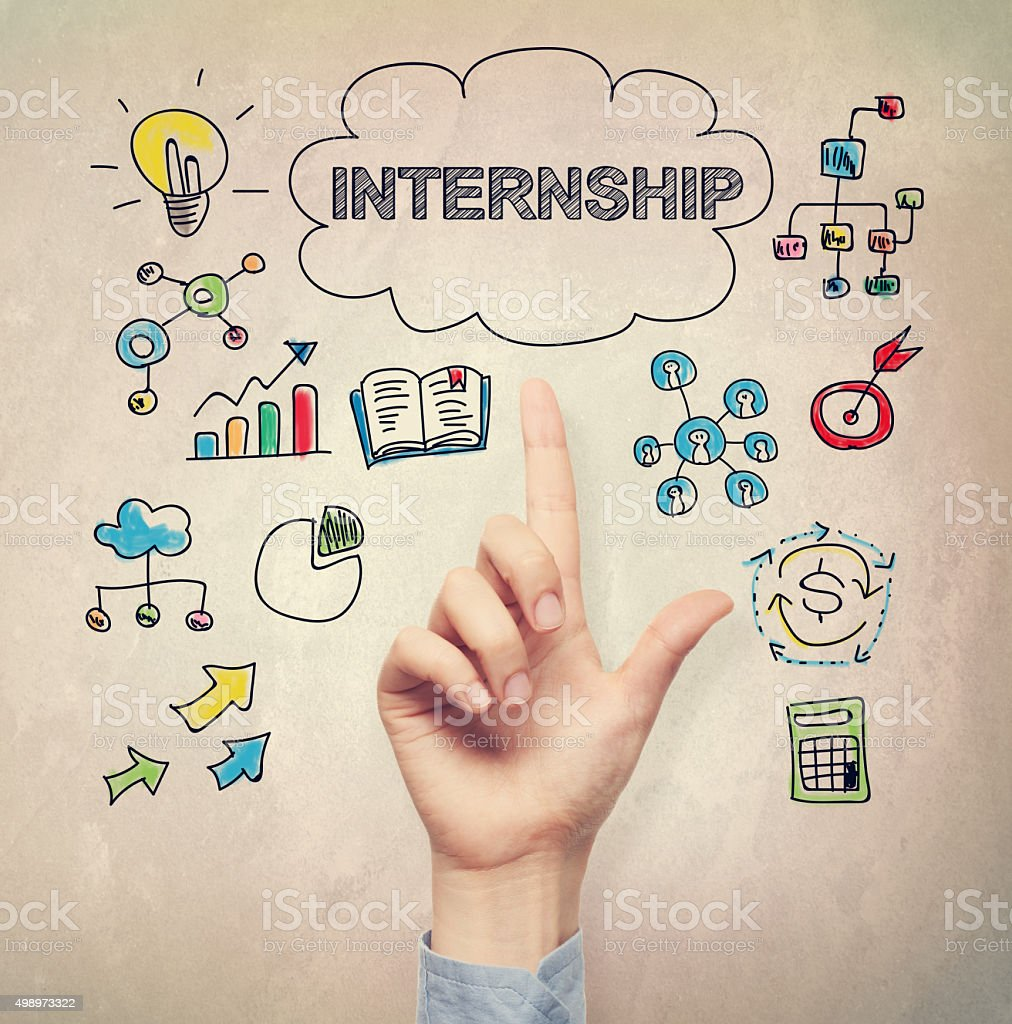 Hand pointing to Internship concept stock photo