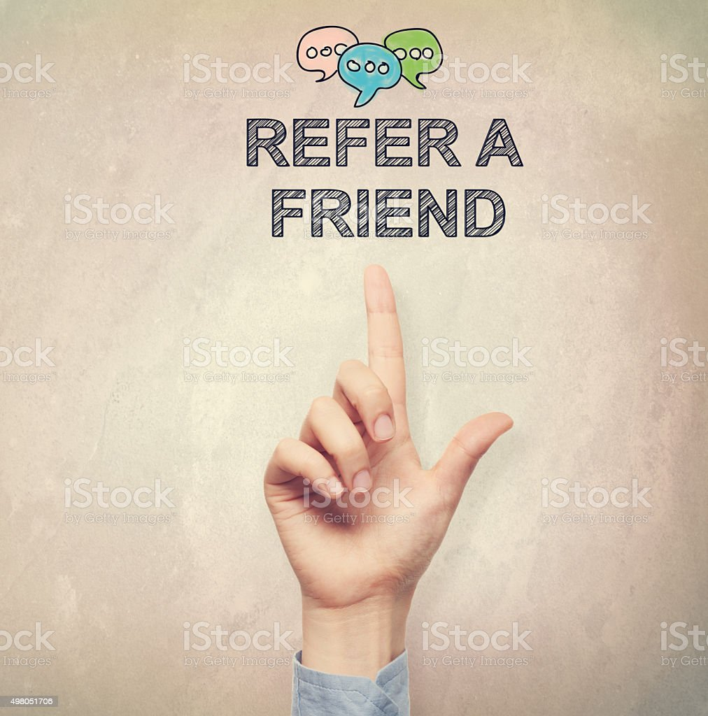 Hand pointing to Refer a Friend concept vector art illustration