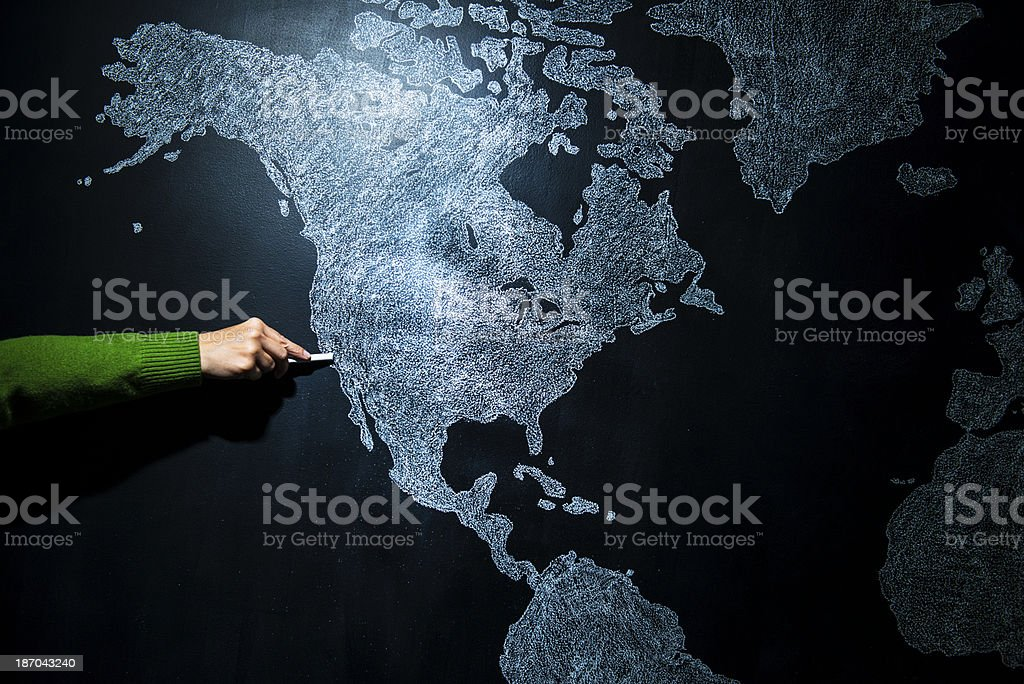 Hand pointing to San Francisco - California, EEUU. royalty-free stock photo
