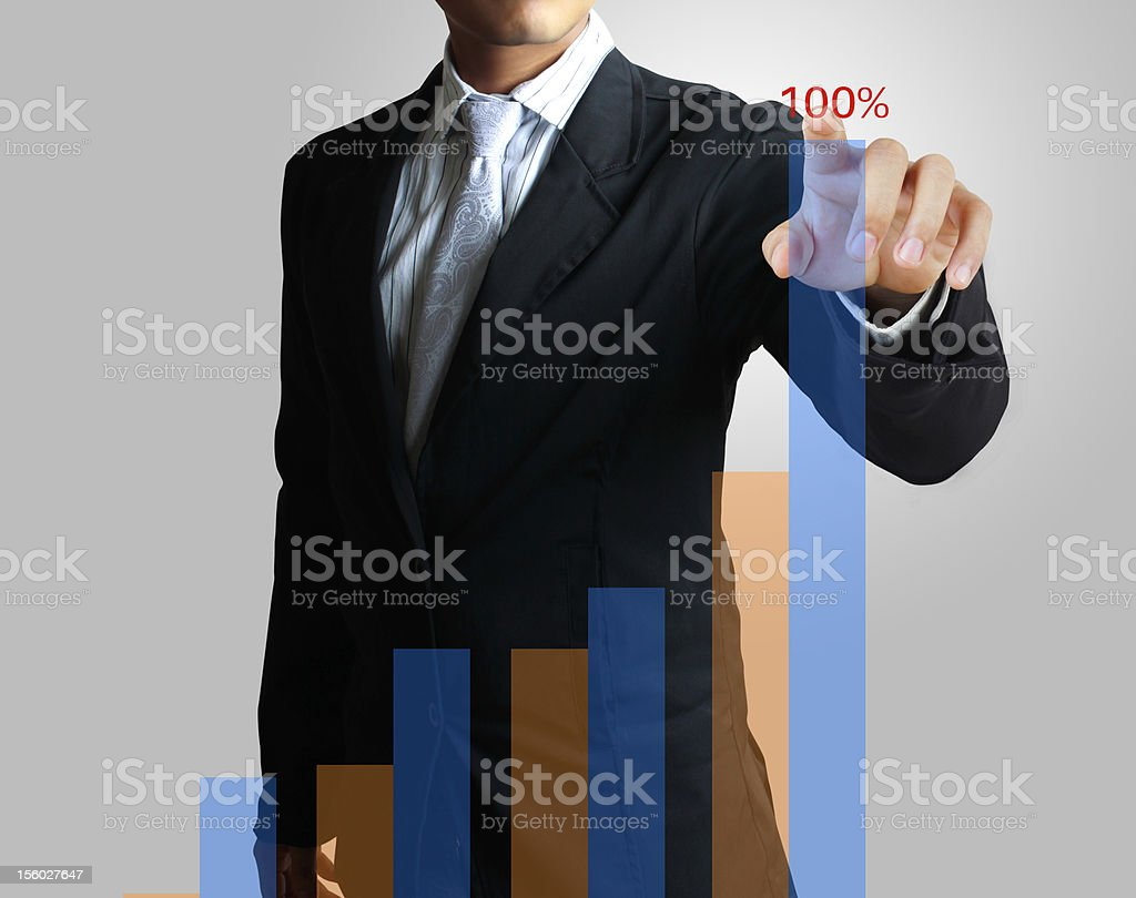 Hand pointing to the graph royalty-free stock photo
