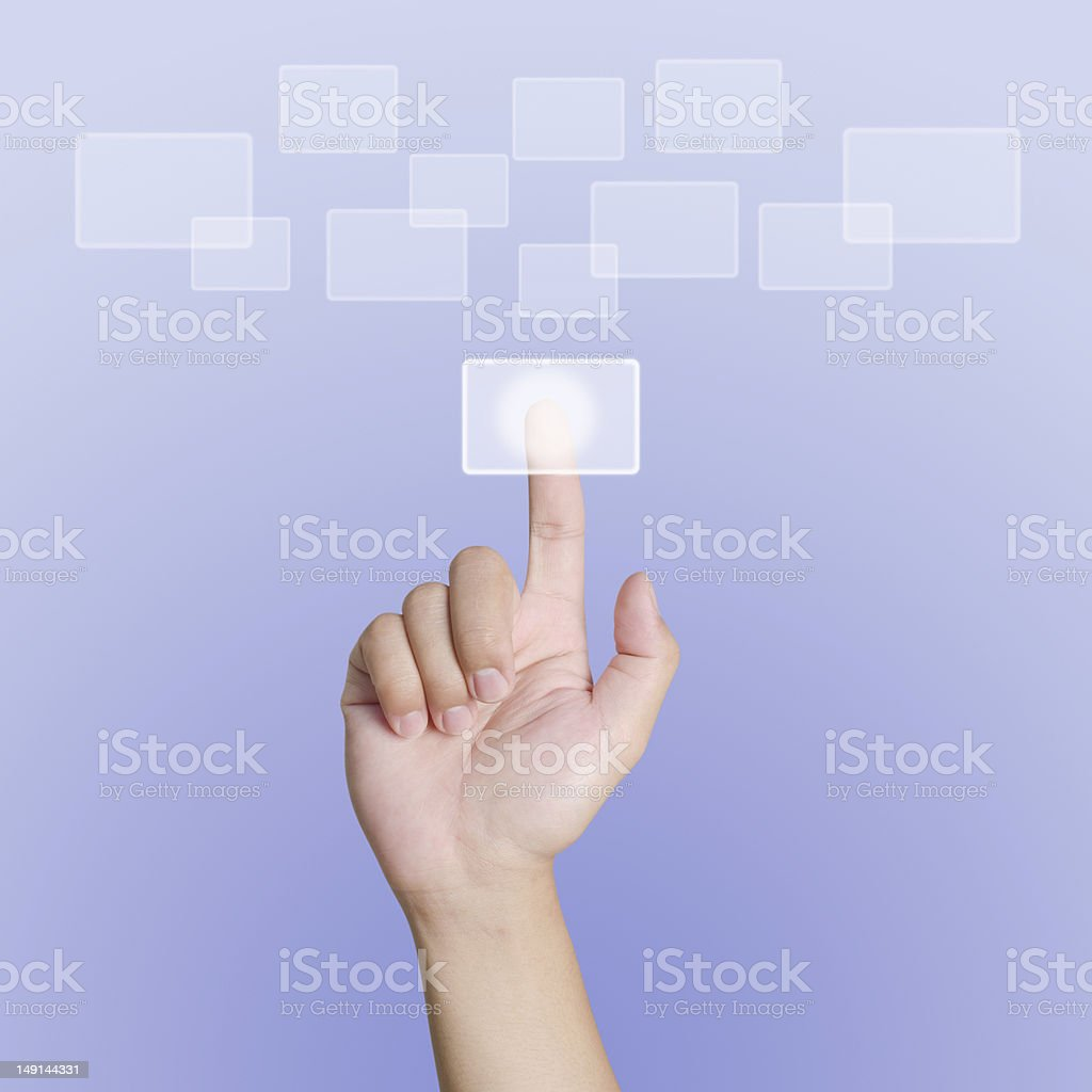 Hand pointing, touching or pressing on background royalty-free stock photo