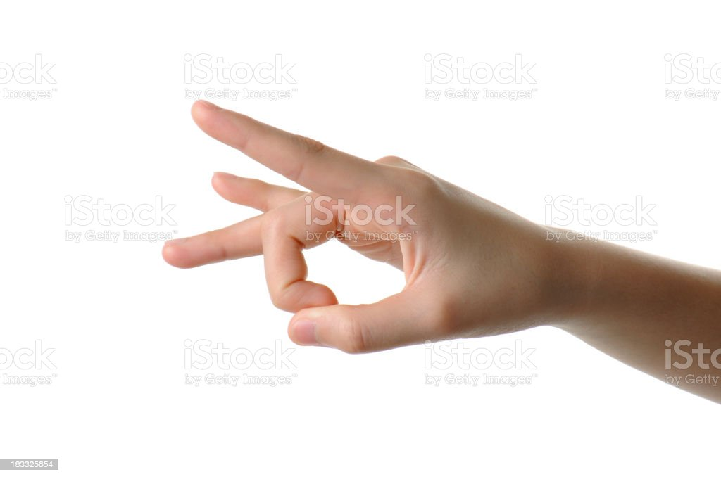 Hand poised to flick a finger on white background stock photo