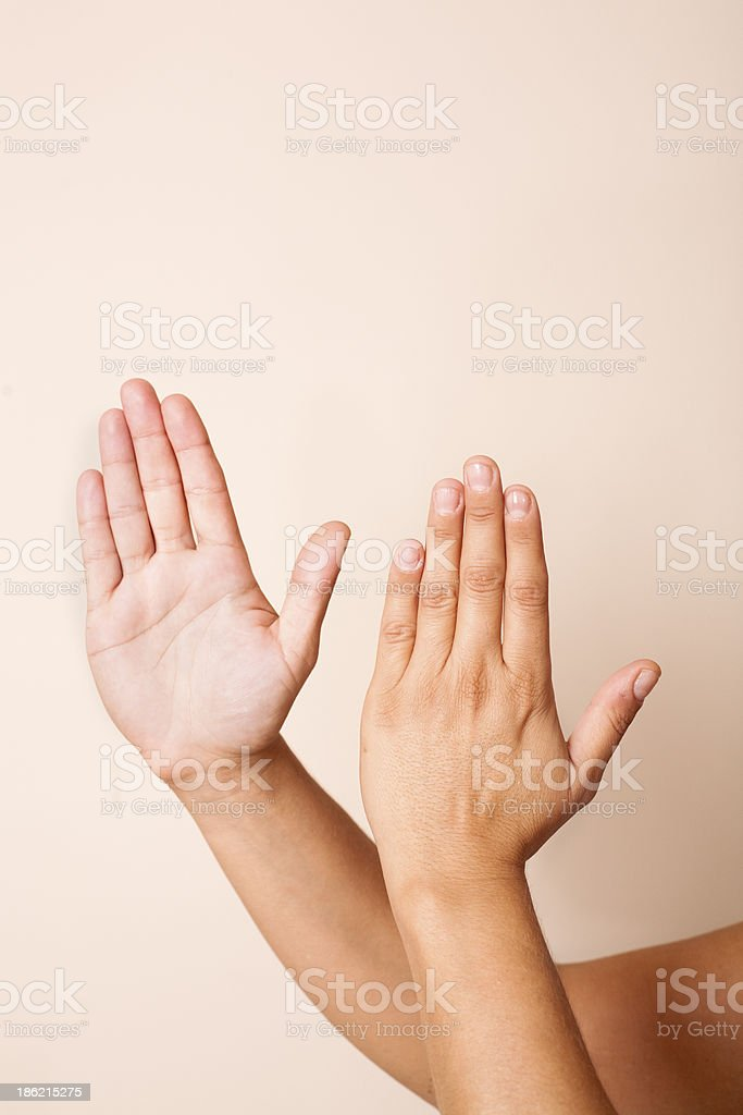 Hand Pose for Massage Percussion technique or tapotement stock photo