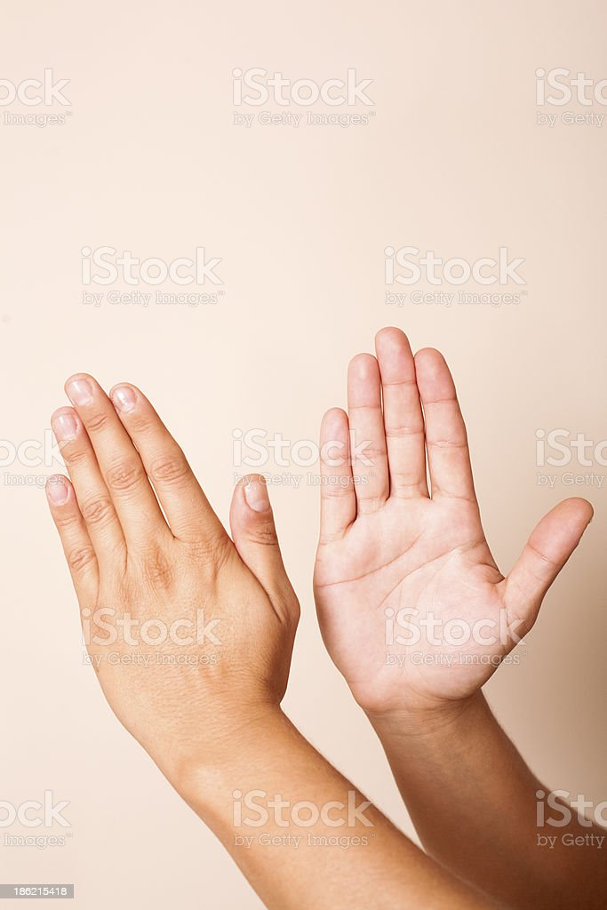Hand Pose for Massage Percussion technique stock photo