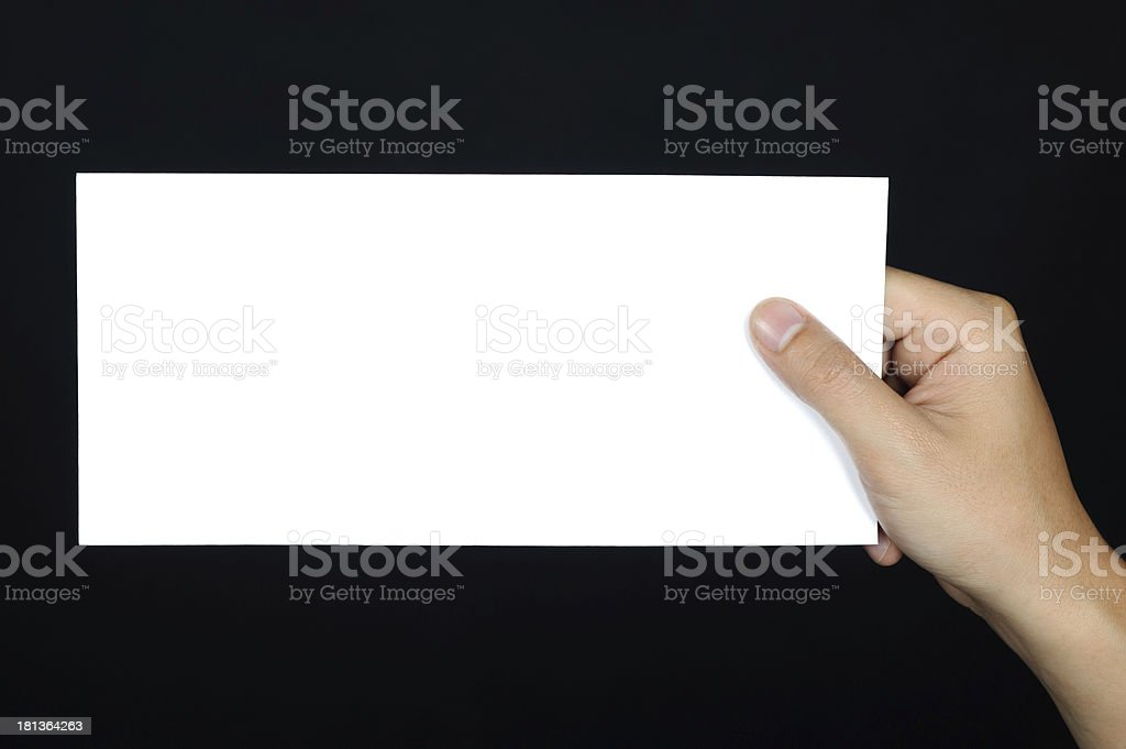 hand posture Hold blank placard  isolated royalty-free stock photo
