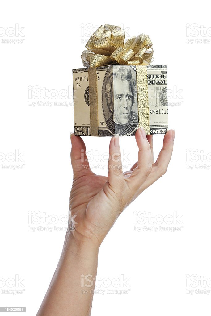 Hand Presenting Gift of Money royalty-free stock photo
