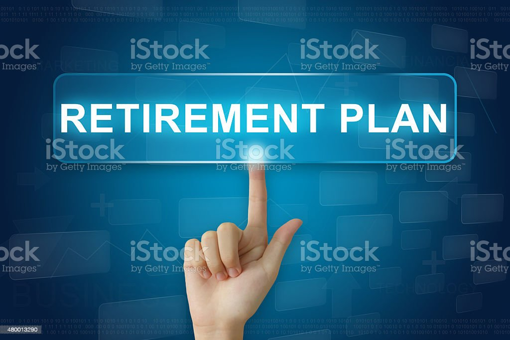 hand press on retirement plan button on touch screen stock photo