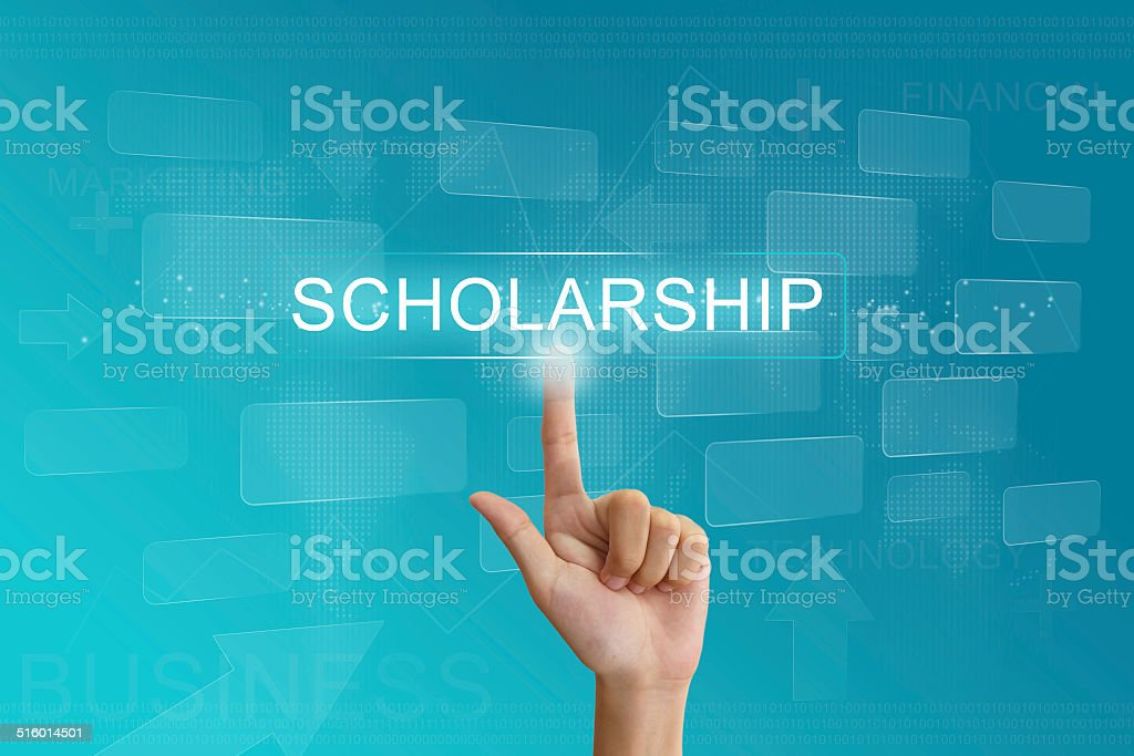 hand press on scholarship button on touch screen stock photo
