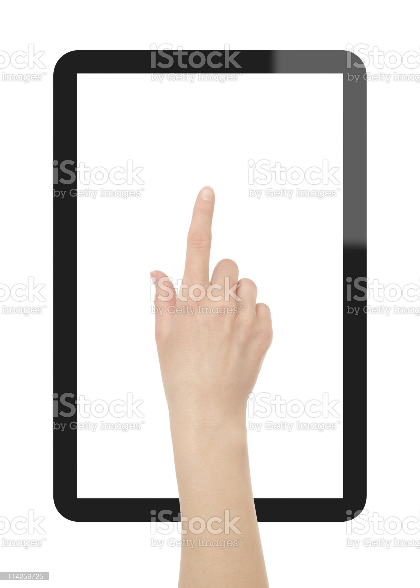 Hand press on Tablet PC royalty-free stock photo