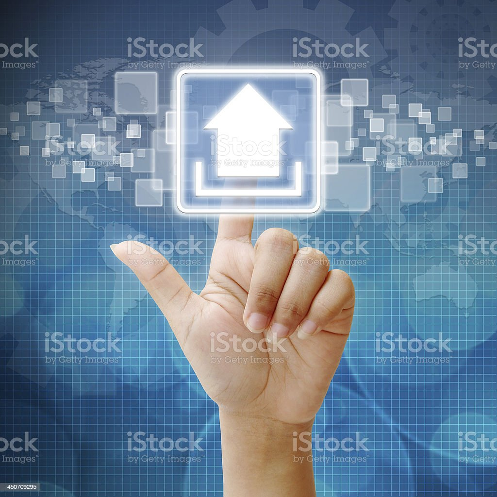 Hand press on Upload icon stock photo