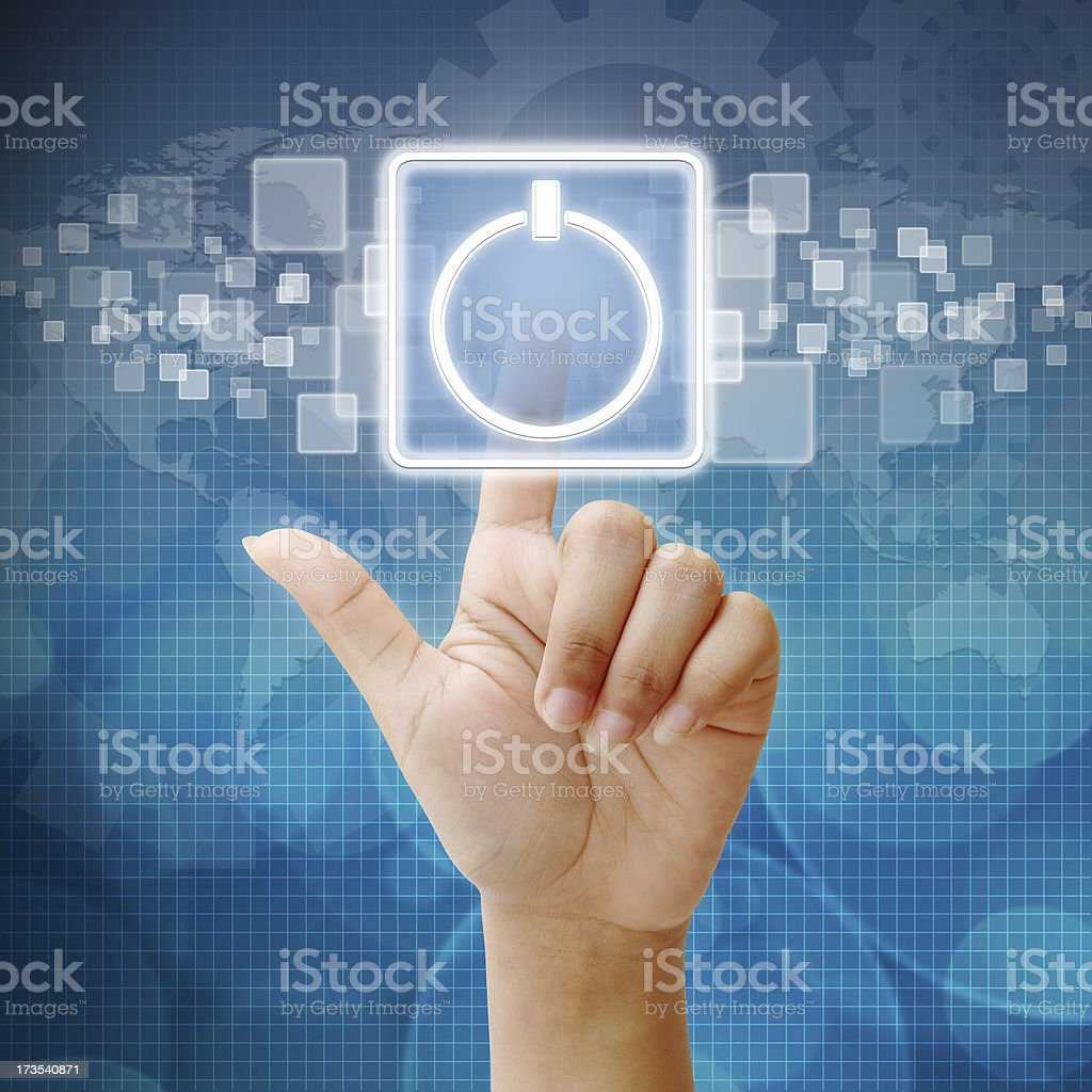 Hand press touch the Power icon stock photo
