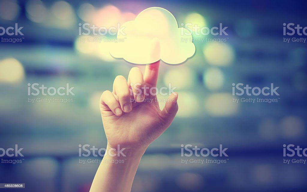 Hand pressing a cloud computing icon stock photo