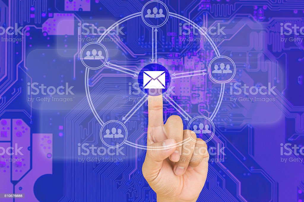 hand pressing Email  button on interface stock photo