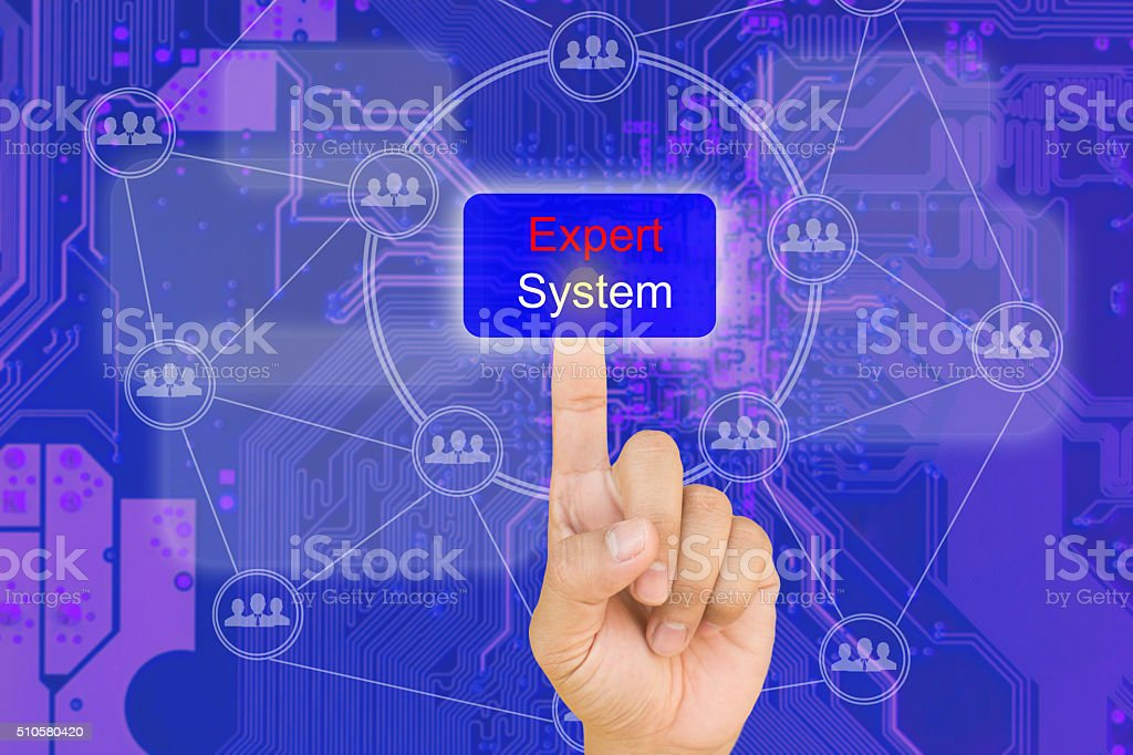 hand pressing expert system button on interface stock photo