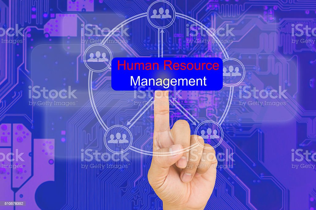 hand pressing human resource management button on interface stock photo