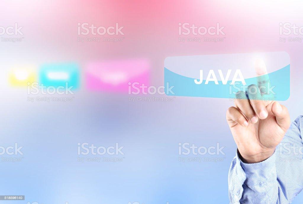 Hand pressing java button stock photo