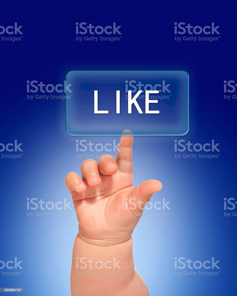 Hand pressing like button. stock photo