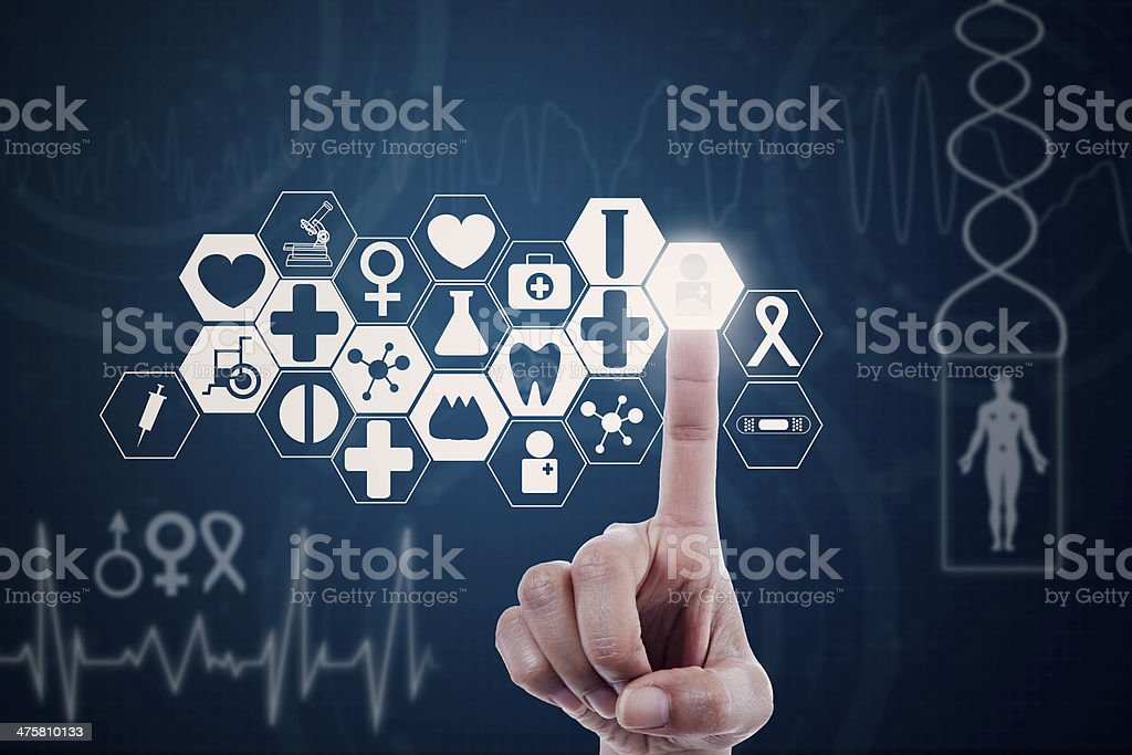 Hand pressing modern medical button stock photo