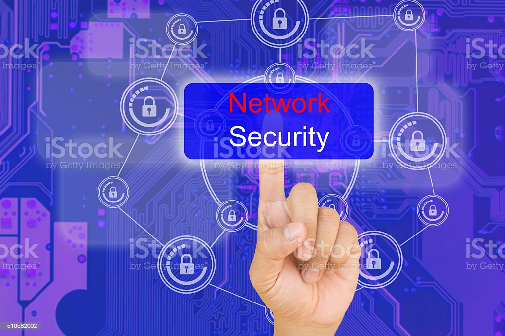 hand pressing network security button on interface stock photo