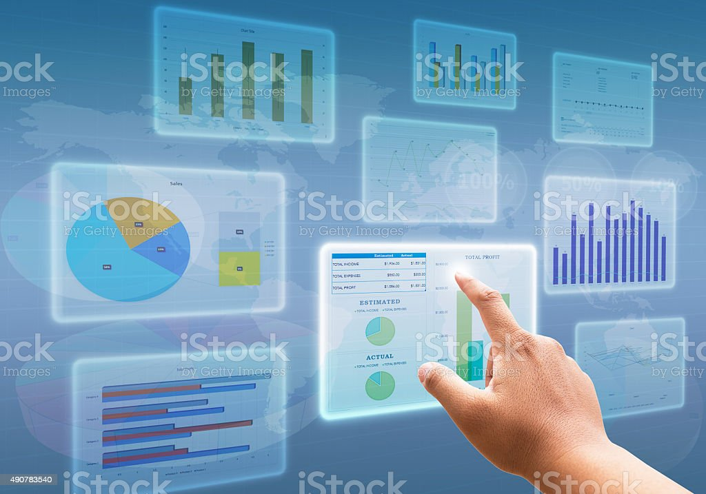 hand pressing on Chart diagrams and Business with financial symbols stock photo