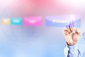 Hand pressing privacy button