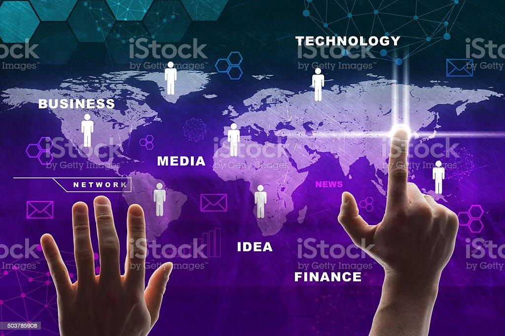 Hand pressing purple virtual map stock photo