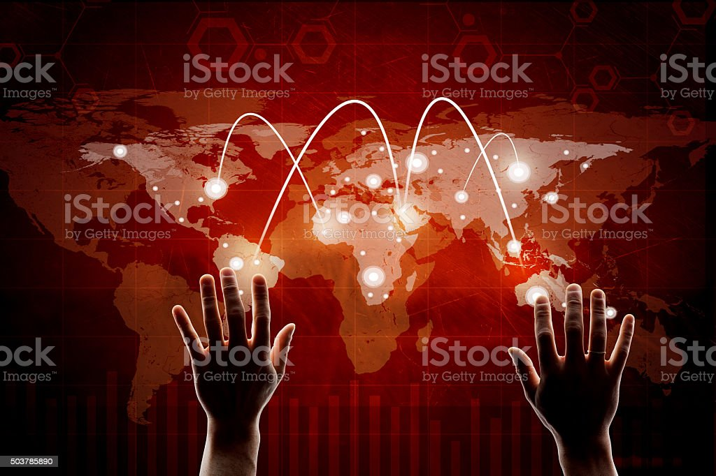 Hand pressing red virtual map stock photo
