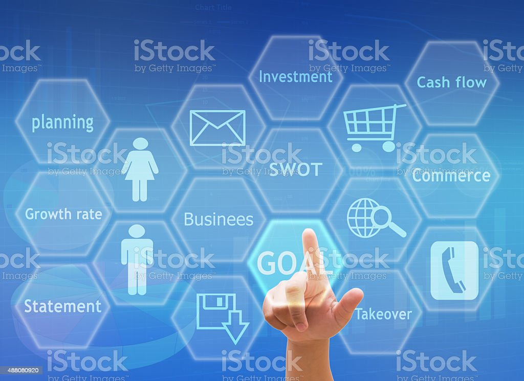 hand pressing social media button touch screen and business goal stock photo