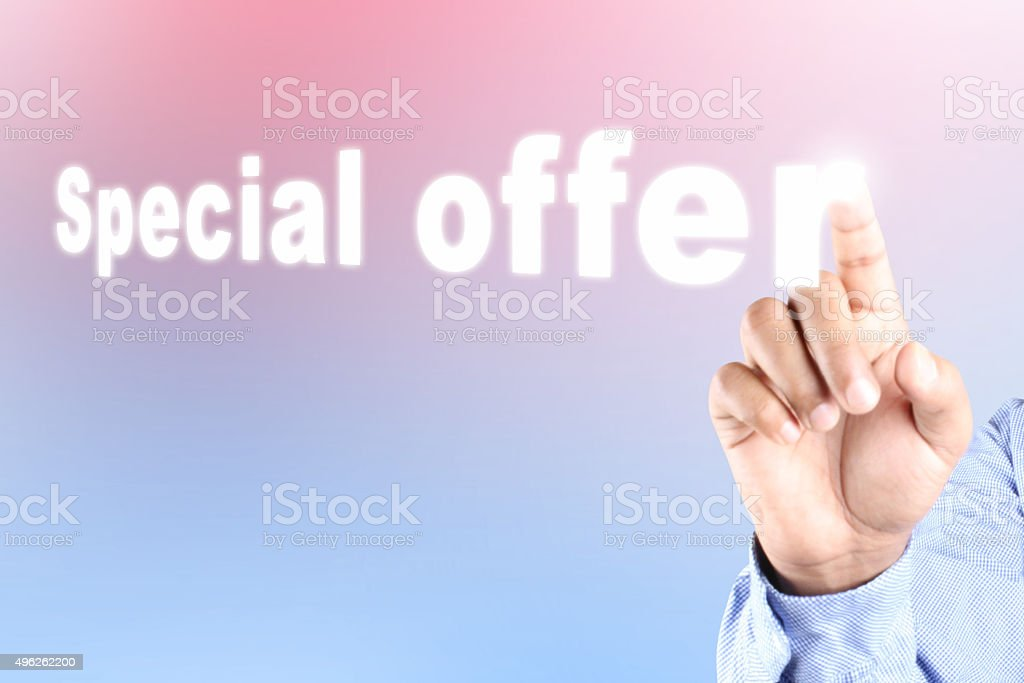 Hand pressing special offer text on abstract background stock photo