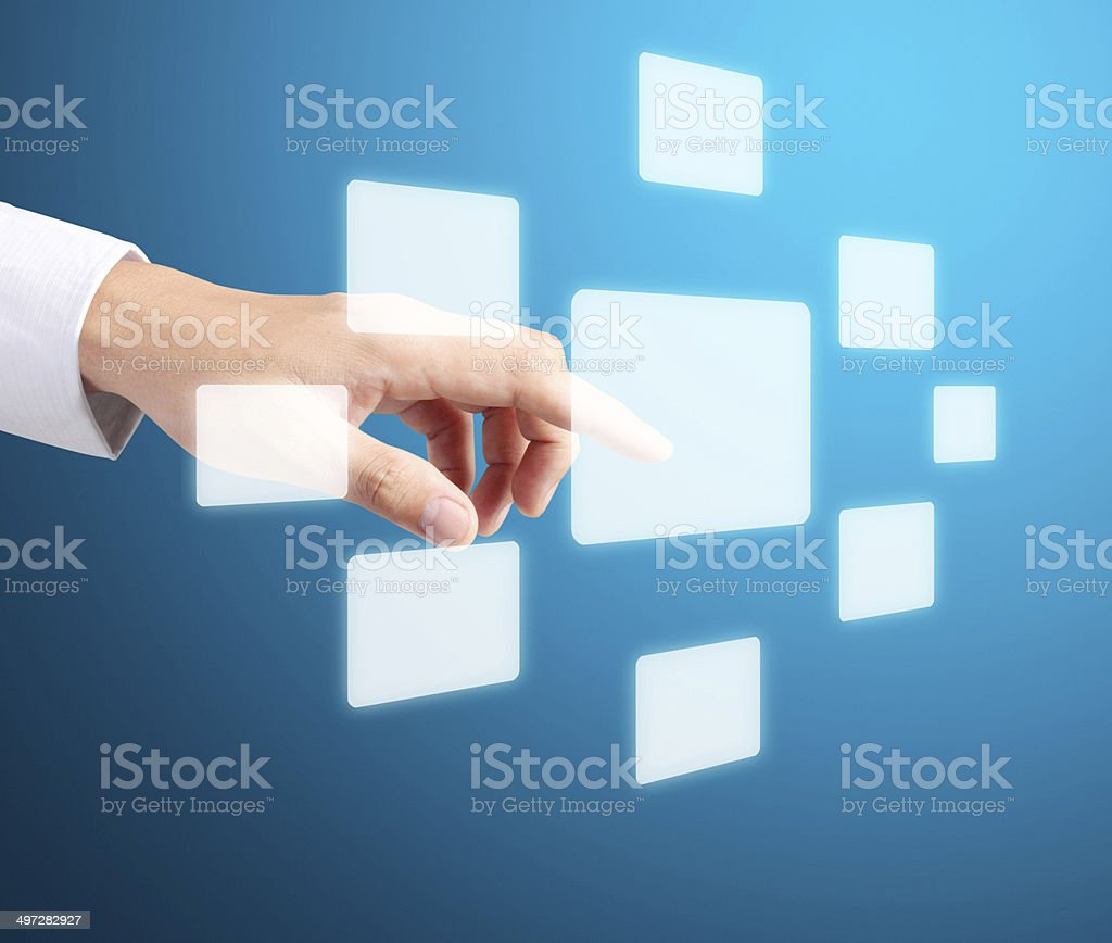 hand pressing  touchscreen button royalty-free stock photo