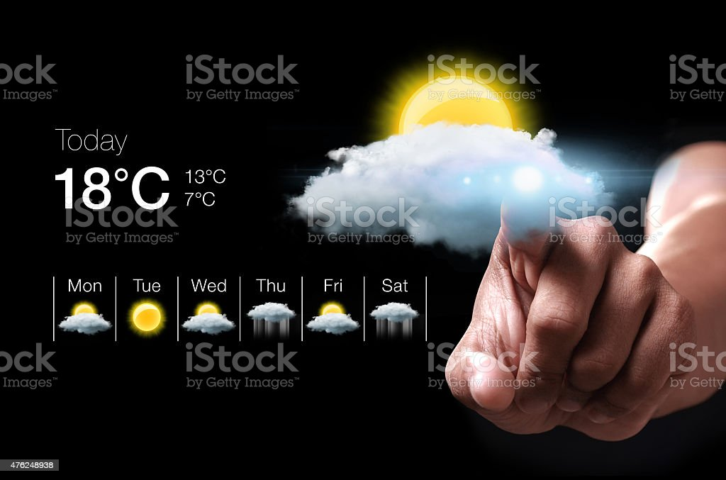 Hand pressing virtual weather icon stock photo