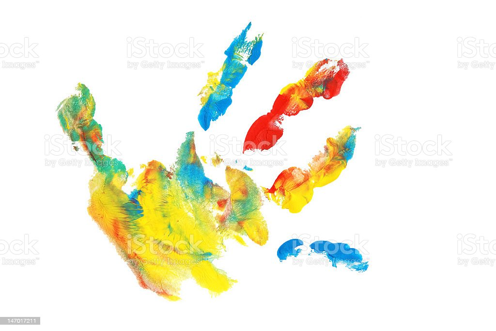 Hand print in different vibrant colors stock photo