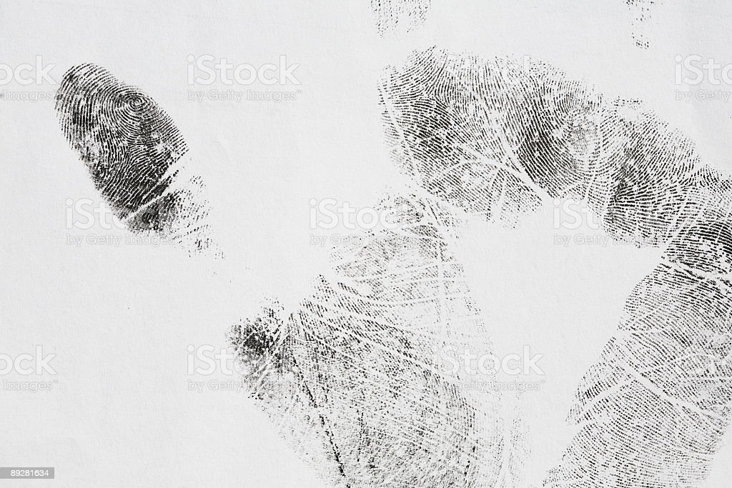 Hand print made with ink on paper royalty-free stock photo