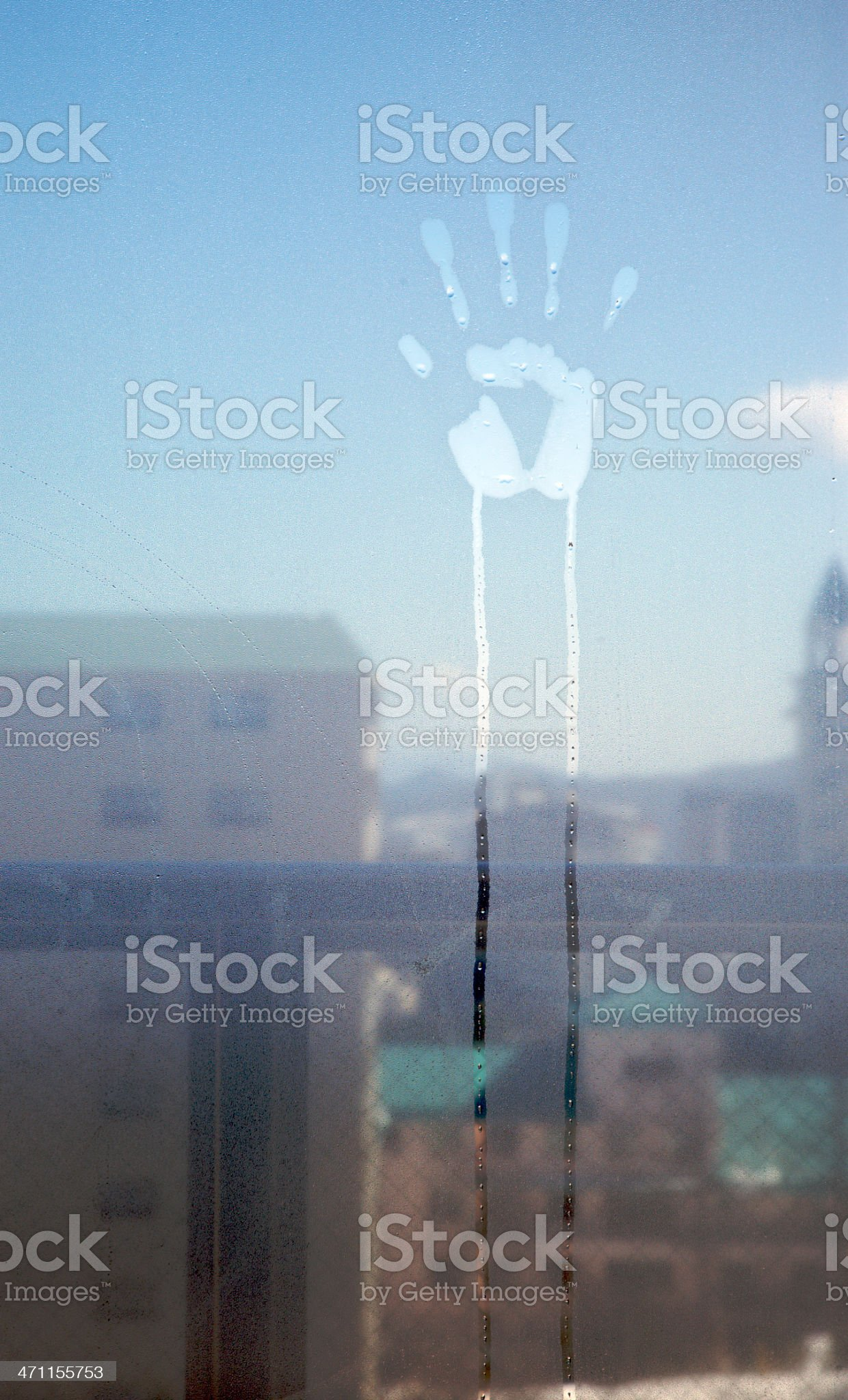 Hand print on window royalty-free stock photo